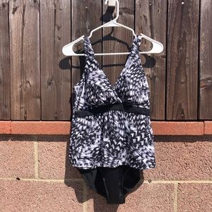 Black and white one piece swimsuit dress 12